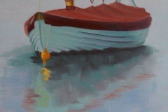Chisnell oil painting coast sailing boat