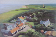 Chisnell painting Happisburgh lighthouse.
