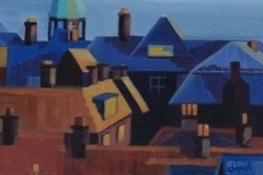 Chisnell oil painting Cromer rooftops