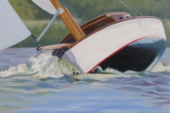 Chisnell oil painting Broads yacht