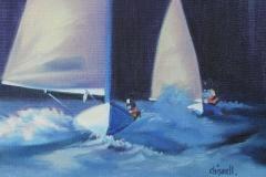 Chisnell Oil Painting Finn dinghy