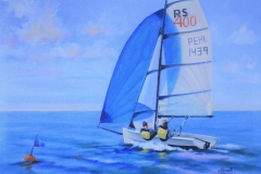 Chisnell oil painting RS dinghy commission