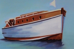 Chisnell Oil Painting vintage motor yacht